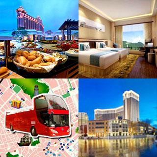 澳門開蓬觀光旅遊巴士open top bus buffet package酒店下午茶自助餐船飛套票